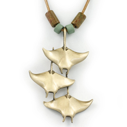Bronze Triple Manta Ray Necklace With Beads
