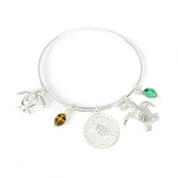 Adjustable Sea Turtle Silver Bracelet