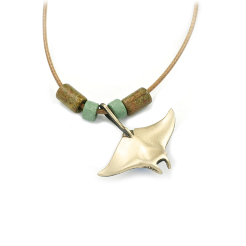 Bronze Single Manta Ray Necklace wth Beads