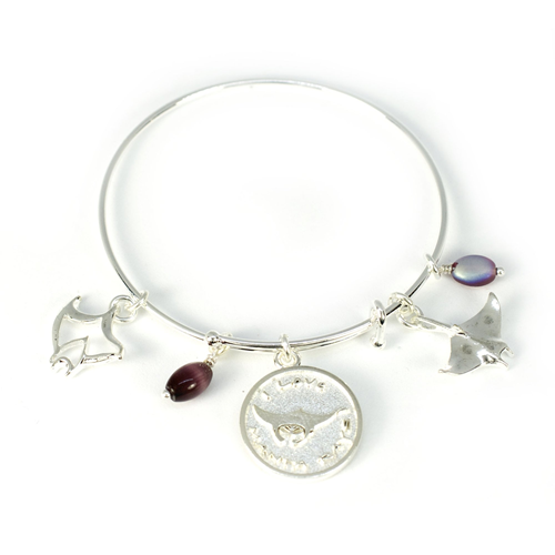 Adjustable Manta Ray Silver Bracelet