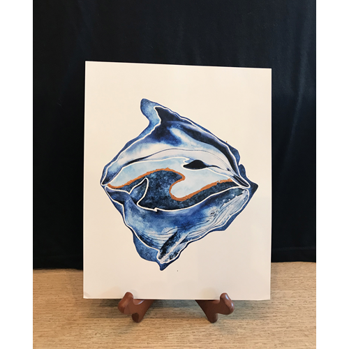 Big Island Dolphin and Whale 8x10 Art Print