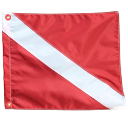 "Nylon Dive Flag With Stiffener 14"" X 16"" With Grommets"