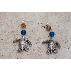 Antique Brass Hatchling Seaturtle Earrings W/ Czech Blue And Brown Beads