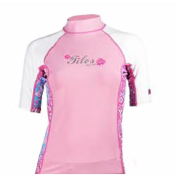 Tilos Ladies Pink Floral Short Sleeve Rash Guard