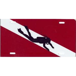 License Plate W/diver, Flag