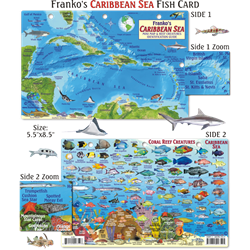 Card, Caribbean Map & Fish Id