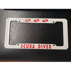Trident White Plastic Auto Car License Plate Frame Scuba Diver 3 Scuba Flags